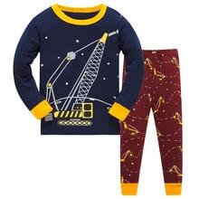 Kids Pajamas Sets boys tiger pattern night suit Children cartoon Sleepwear Boys Pyjamas kids 100% Cotton nightwear size 3-8Y цена