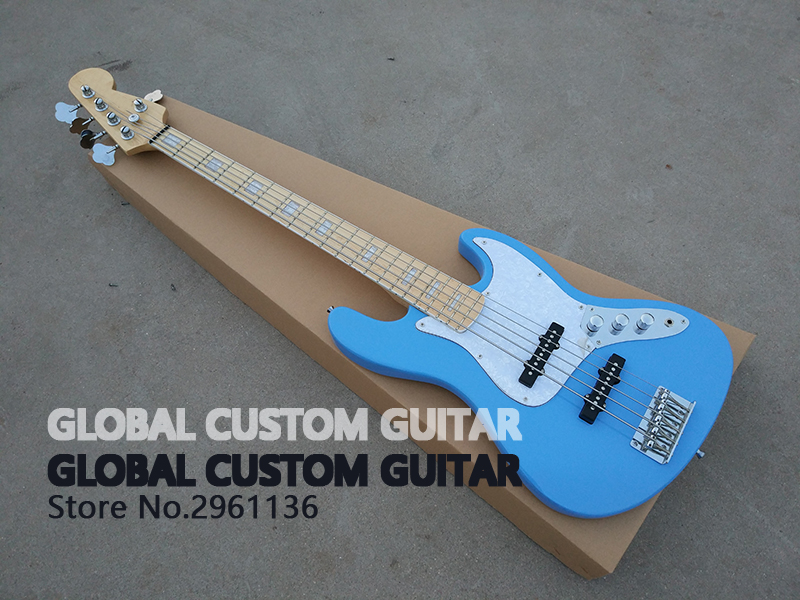 High Quality,5 strings bass guitar,Mahogany body,Sky blue color,Wholesale,Real photos,free shipping 2016 new light blue imitation old st electric guitar good body real guitar photos free shipping