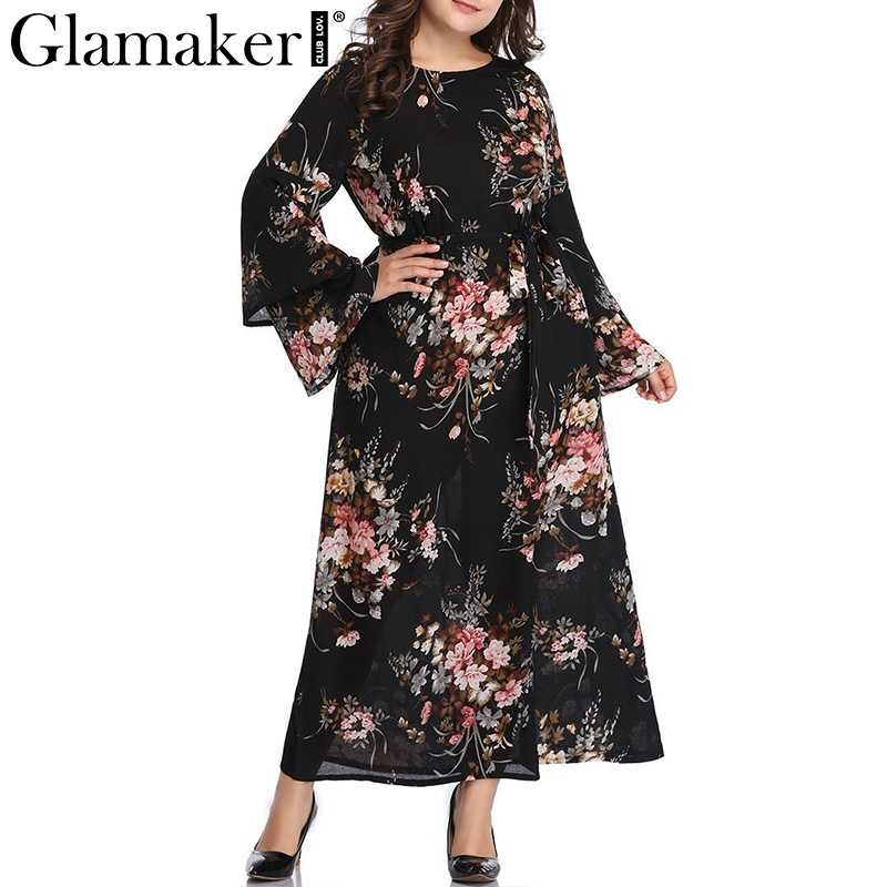 Glamaker Chiffon boho maxi dress women long sleeve plus size high waist  belt beach dress Female