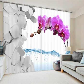 ที่สวยงามแพนซี่ภาพวาดผ้าม่านผ้าห้องนั่งเล่นโรงแรมม่านCortiansม่านบังแดดหน้าต่าง3Dม่านผ้าม่าน
