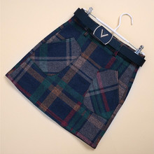 Women's Wkirt 2016 Spring and Autumn Colored Plaid Miniskirt Wild High Waist  Skirt With Lining Anti Emptied
