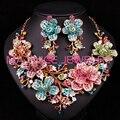 Conjuntos de Jóias de Casamento de Noiva De luxo Colar Brinco Para Noivas Acessórios Do Partido Banhado A Ouro Big Flowers Strass ecoration