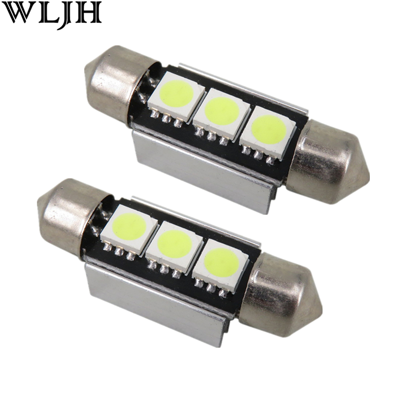 WLJH 1x CANBUS Error Free C5W 36mm Festoon White 3 SMD DE3423 6418 12v Car Interior Bulb License Plate Light For BMW Audi Benz