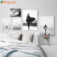 Black White Girl Surfboard Beach Seagull Decor Wall Art Canvas Painting Nordic Posters For Living Room Decorative Unframed