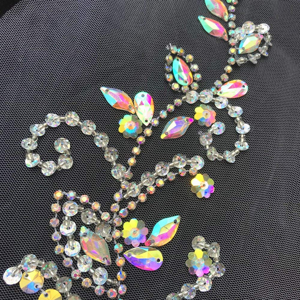 HAndmade 17x38cm Clear Ab Sew On Beaded Sequin Rhinestones Crystal Wedding Decorative Appliques Patches For DIY Clothes Costume
