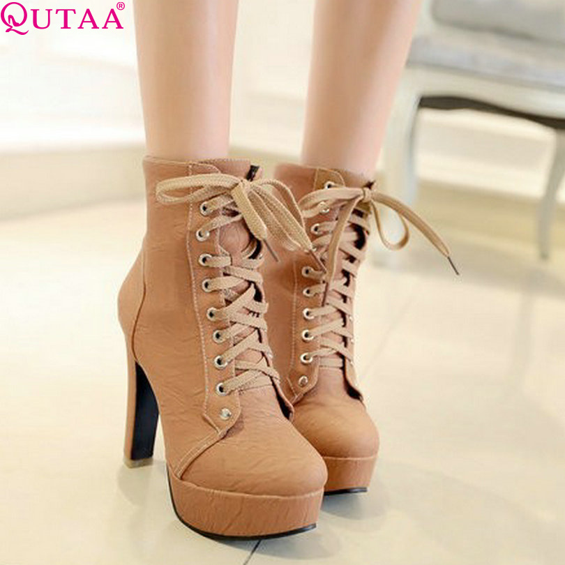 ФОТО QUTAA Fashion Female Ankle Short Pump Boots High Heels Shoes Women Motorcycle Boots Sexy Wedding Snow Boots Size 34-43