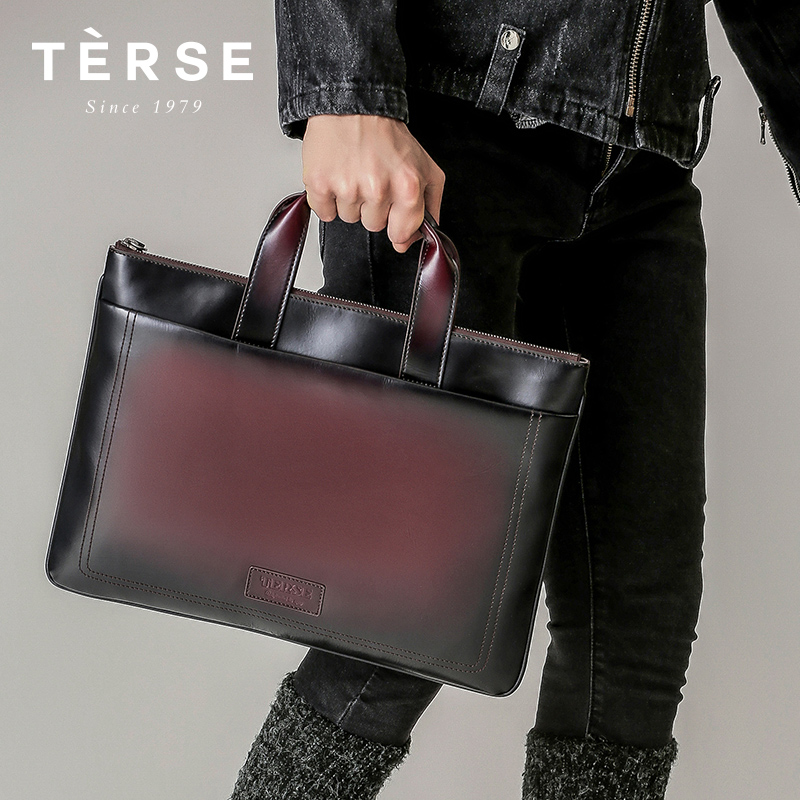 TERSE 2018 New Handbag Genuine Cow Leather Briefcase For Men Luxury Large Capacity Business Laptop Bag Customize Logo Hot