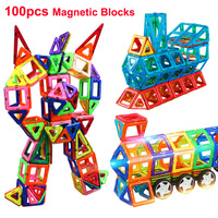 100pcs 3D Magnetic Constructor Toys Model & Building Blocks Magnetic Designer Blocks Bricks Educational Toys For Children