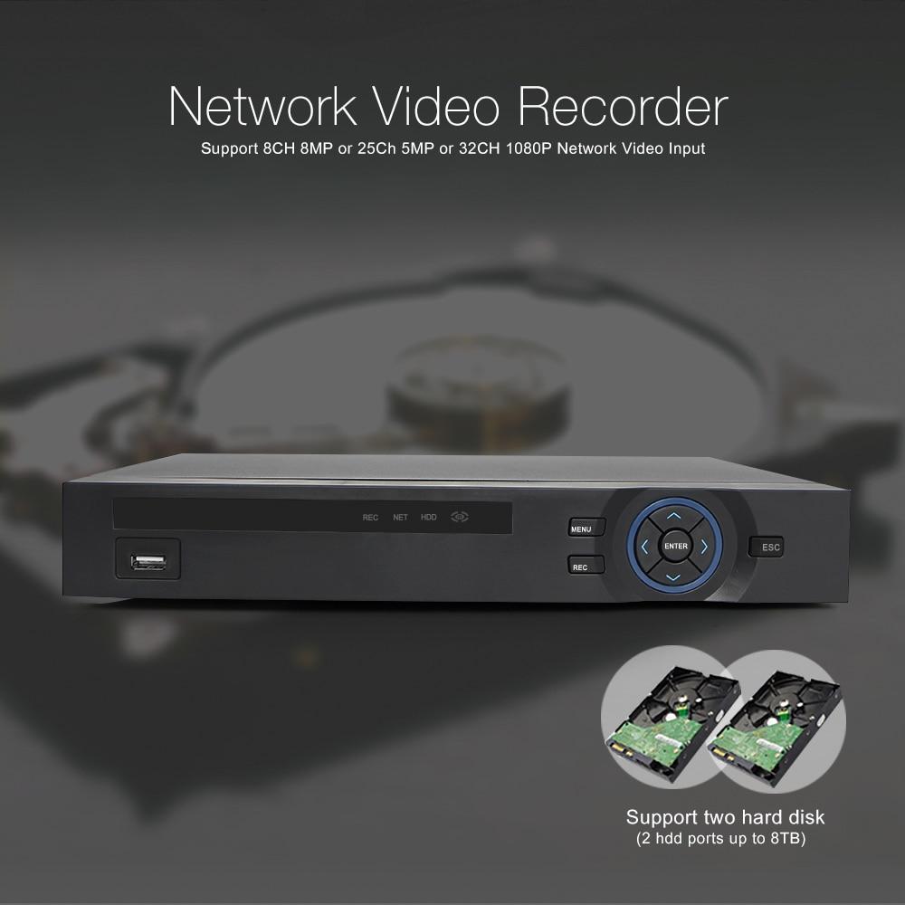 H.265 CCTV NVR 32CH 1080 P/25Ch 5MP/8Ch 8MP NVR ONVIF P2P облачная поддержка 2HDD MAX 8 ТБ 32Ch сетевой видеорегистратор безопасности