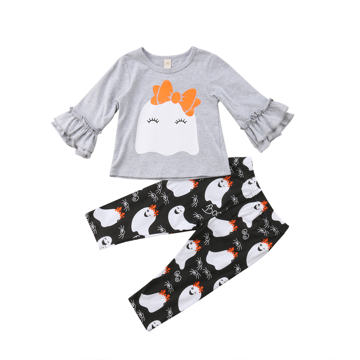 2Pcs Halloween Kids Baby Girls Ghost Tops T-shirt Long Pants Leggings Outfits Clothes Set