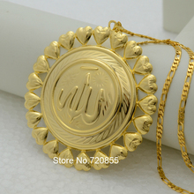 Bigger allah pendant necklace chain men gold color islamic large allah jewelry women,arabic muslim middle east