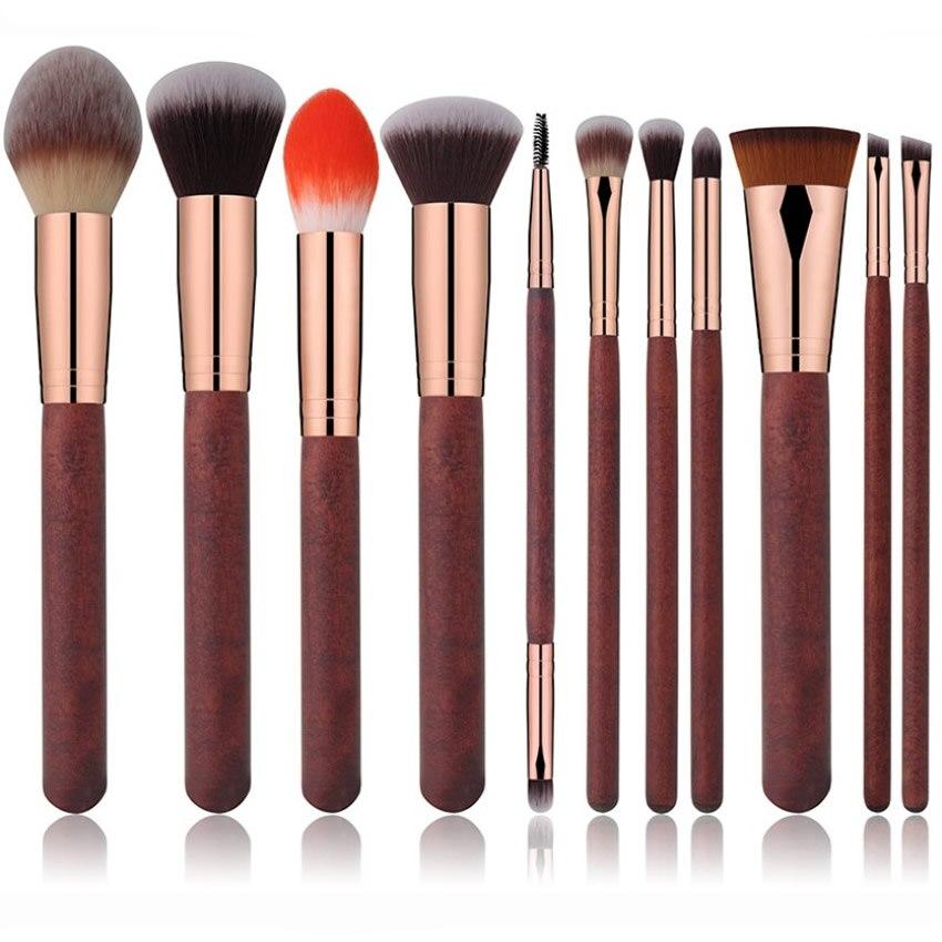 11Pcs/Lot Makeup Brushes Set Foundation Powder Eye Shadow Blush Make Up Blush Wood Handle Women Beauty Essentials Cosmetics Tool