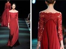 sexy boat neck three quarter sleeve red lace evening Dress elegant formal gown robe de soiree 2016 new beading vestido festa