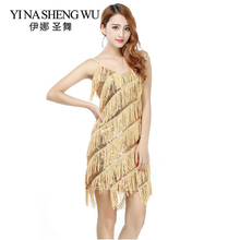 2015 High quality sexy tassel latin dance dress fringe costumes for women on sale