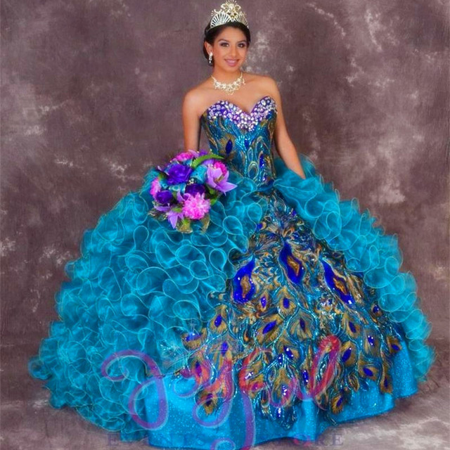 77891df2b15 Peacock Blue Quinceanera Dresses 2017 Sweetheart Beads Organza Ball Gown  Floor-Length Prom Vestidos De