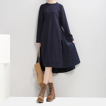 VeryYu 2020 Autumn Winter Dark Blue Black A-Line Round Neck Dress Fashion  VeryYu the Best Online Store for Women Beauty and Wellness Products