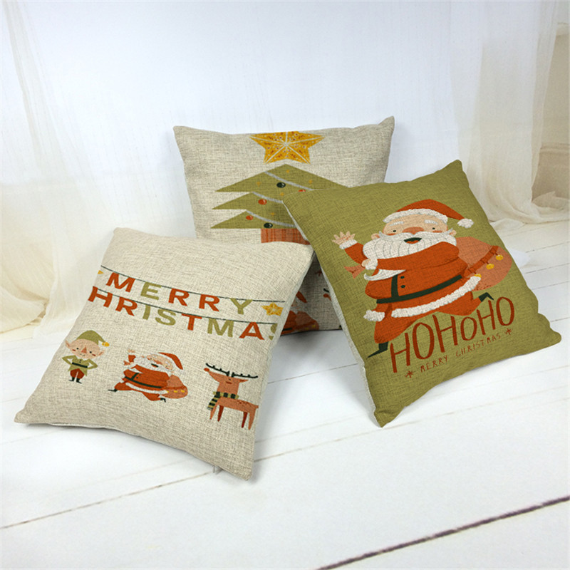 Decor Christmas Cushion Covers North European Throw Pillows Gaming Cartoon Cotton Linen Lounger For The Beach Funda Almohada