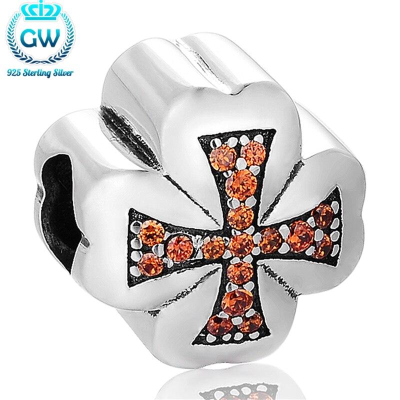 925 Sterling Silver Rhinestone Cross Charms Religious Bracelet For Woman Men Charms  Jewelry GW Brand X373