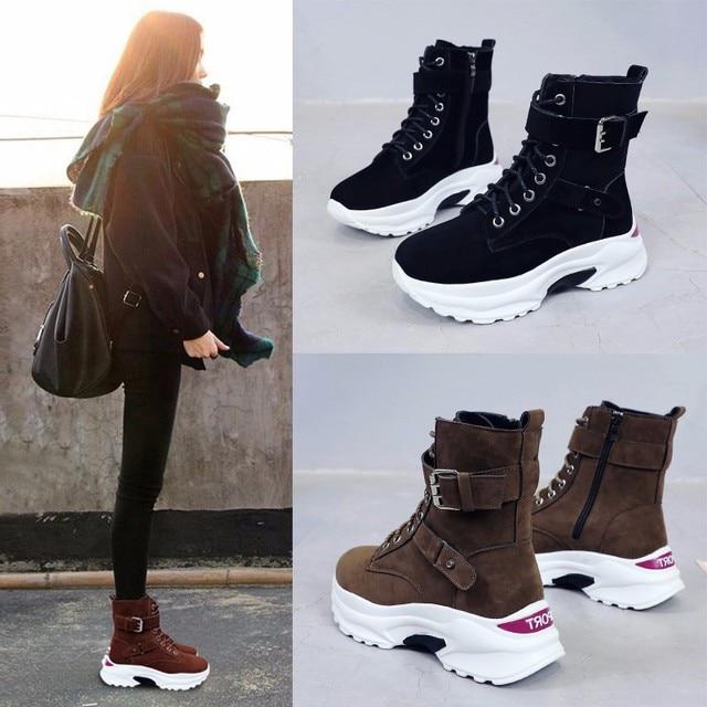Booties nữ 2018 mùa thu và mùa đông Hàn Quốc phiên bản mới với nền tảng dày khởi động của phụ nữ hoang dã giày cao-top phụ nữ cộng với nhung
