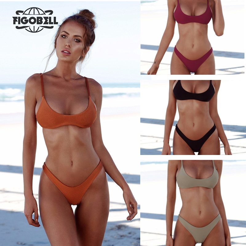 2018 Women Bikini Set Sexy Brazilian Bikini Solid Swimwear Low Waist Thong Bikini Bathing Suit Beach Wear maillot de bain knot back solid bikini set
