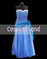 Frog Princess Replica Blue Cinderella Masquerade Ball Gown Dress for Birthday Partie Princess Party Dress Halloween Costume