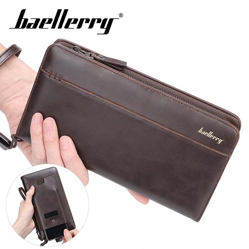 Baellery Men wallets with coin pocket long zipper purse men clutch business Male Wallet Vintage Large Purse