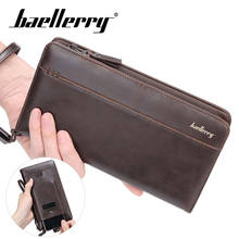 Baellery Men wallets with coin pocket long zipper purse men clutch business Male Wallet Vintage Large Purse