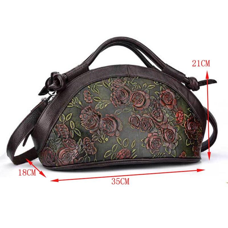 New Vintage prawdziwej wytłaczana torebka skórzana Rose wzór torba na drobiazgi kobiet wosk z oliwek skóra bydlęca na ramię Crossbody Messenger torby w Torebki na ramię od Bagaże i torby na  Grupa 2