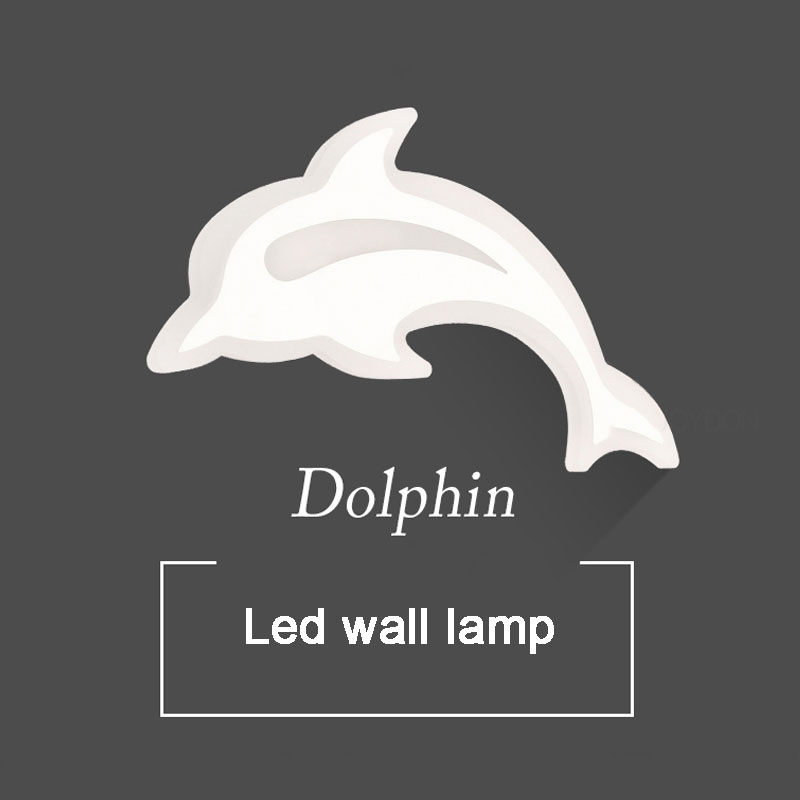 Modern Personality Dolphin Wall Lamp Led Wall Lights For Living Room Bedroom Aisle Corridor Kid Room Bedside Lamps Lighting Deco led wall lights acrylic modern living room bedroom home decoration wall lamp for bedside bedroom restroom wall mounted wall lamp