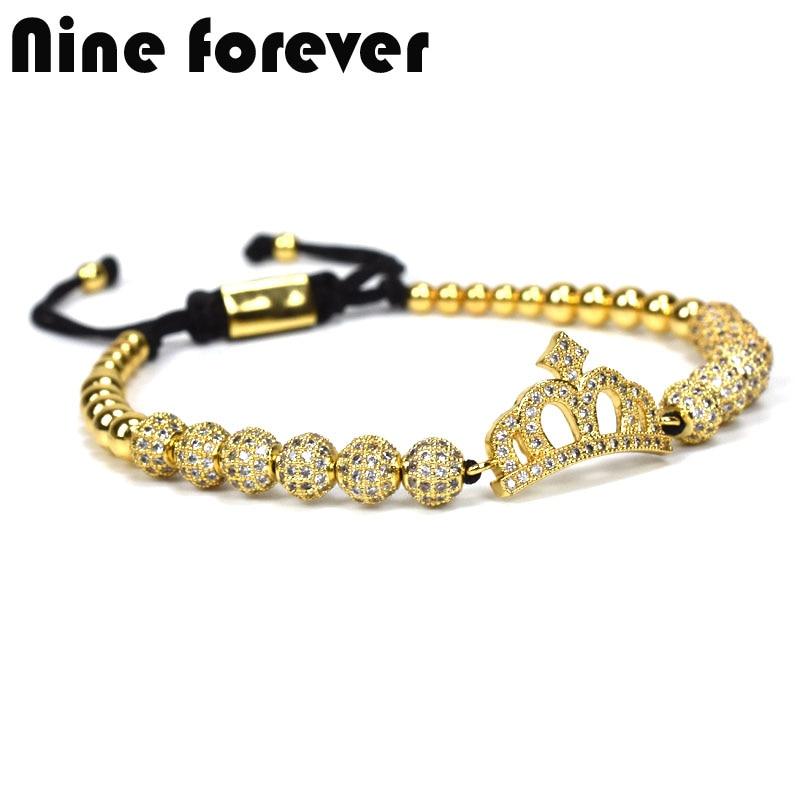 Nine forever jewelry crown charms Bracelet men palm eye Bracelets for women pulseira masculina pulseira feminina
