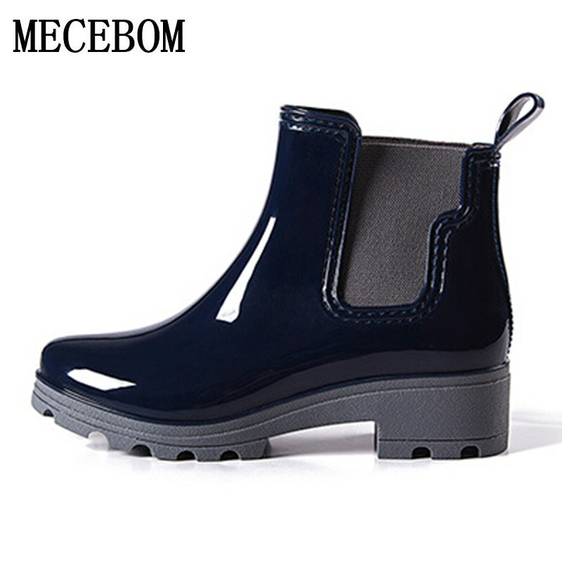 2017 Platform Rain Boots Ladies Rubber Ankle Boots Low Heels Women Boots Slip On Flats Shoes Woman Plus Size 36-40 R039W lanshulan bling glitters slippers 2017 summer flip flops platform shoes woman creepers slip on flats casual wedges gold