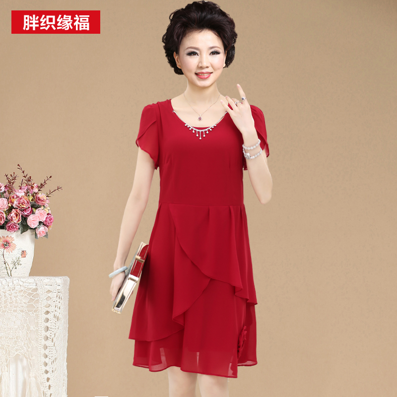 2015 xl 4xl dresses middle aged women short sleeve o neck