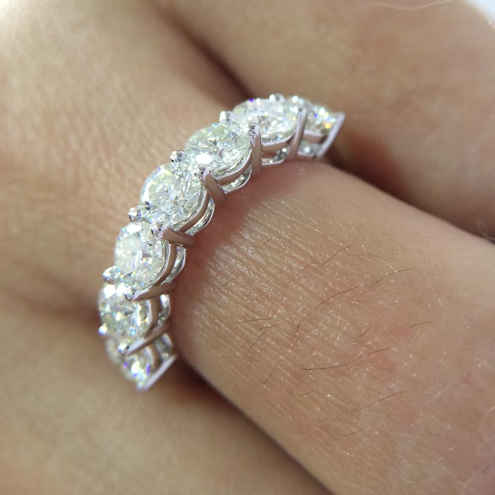 2.1ctw 4mm DF Rond Coupe Fiançailles et Mariage Moissanite Diamant Cultivé En Laboratoire Bague Véritable Solide 14 k 585 or blanc pour Les Femmes