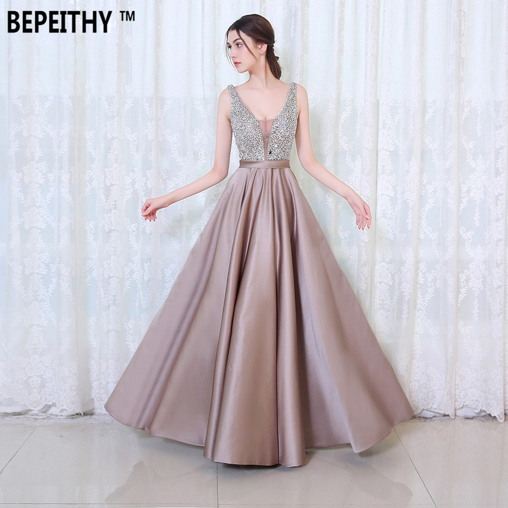 BEPEITHY V Neck Beads Bodice Open Back A Line Long Evening