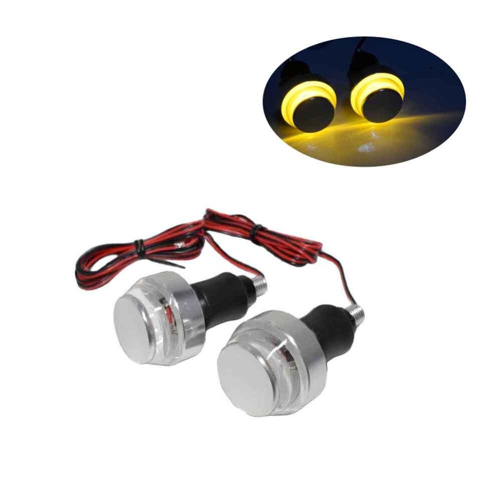 1 PAIR CNC Motorcycle Silver Blinker Amber LED Handle Bar End Indicator Grip Turn Signal Light FOR 22mm Handlebar