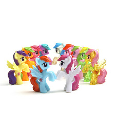 2016 hot 6 pcs/ lot  Toy Collection pawl Cute patroled PVC Unicorn Poni Toys For Children Birthday Christmas doll Gift