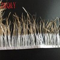 Z & Q & Y natuurlijke 10-15 CM wit struisvogel haar gespoten goud hoofd gemaakt van doek 5 meters DIY kleding decoratieve sieraden art