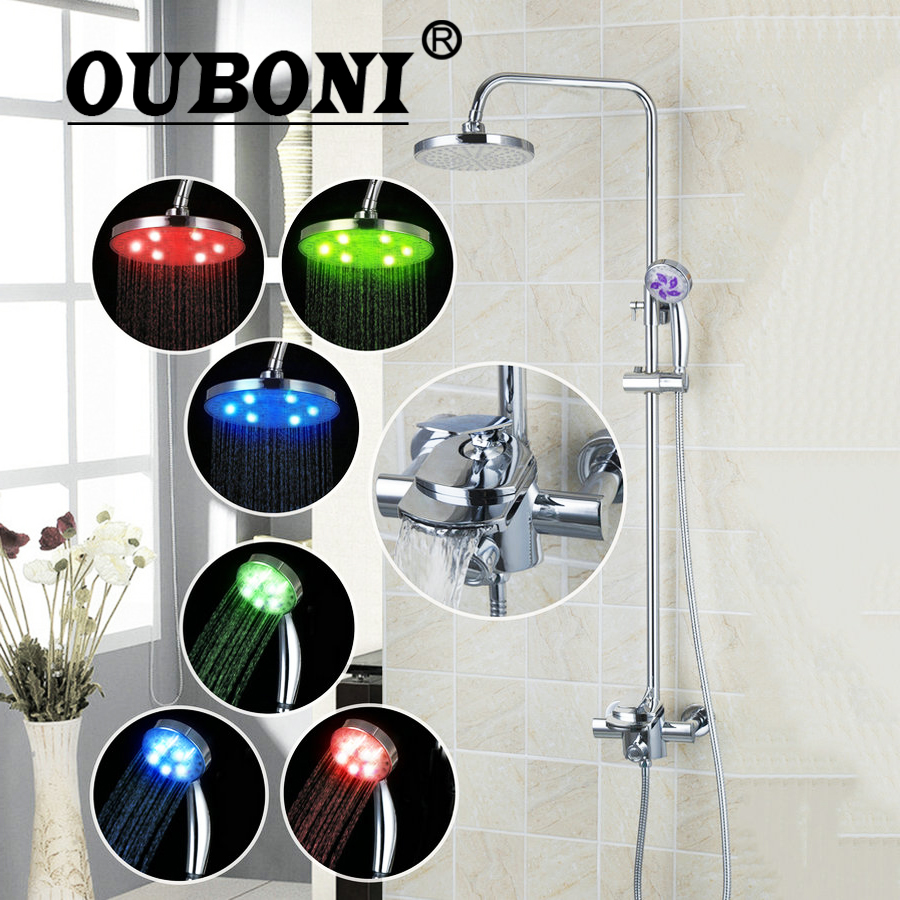 OUBONI NEW LED Bathroom Faucet set Bath Rainfall Shower Head W/ Control Valv Hand Spout Modern Shower Set Faucets ouboni modern rainfall