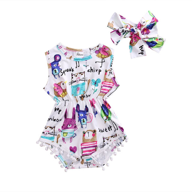 df3599c628c Adorable Baby Girls Painting Romper Summer Sleeveless Tassel Jumpsuit  Headband 2PCS Outfits Baby Clothes