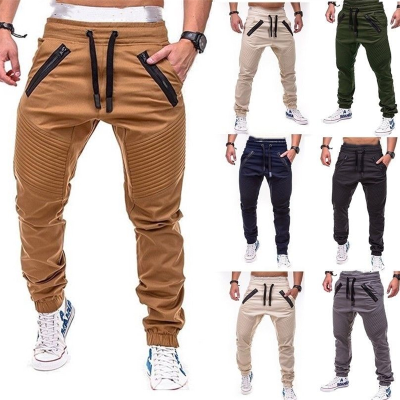 Mens Long Casual Elastic Pants Slim Fit Trousers Pencil Jogger Sweatpants Men Long Pants