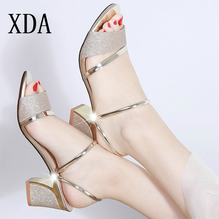 XDA Women Sandals Square Heel Open-Toe Bling Sexy Roman Fashion Summer NEW for Shoes