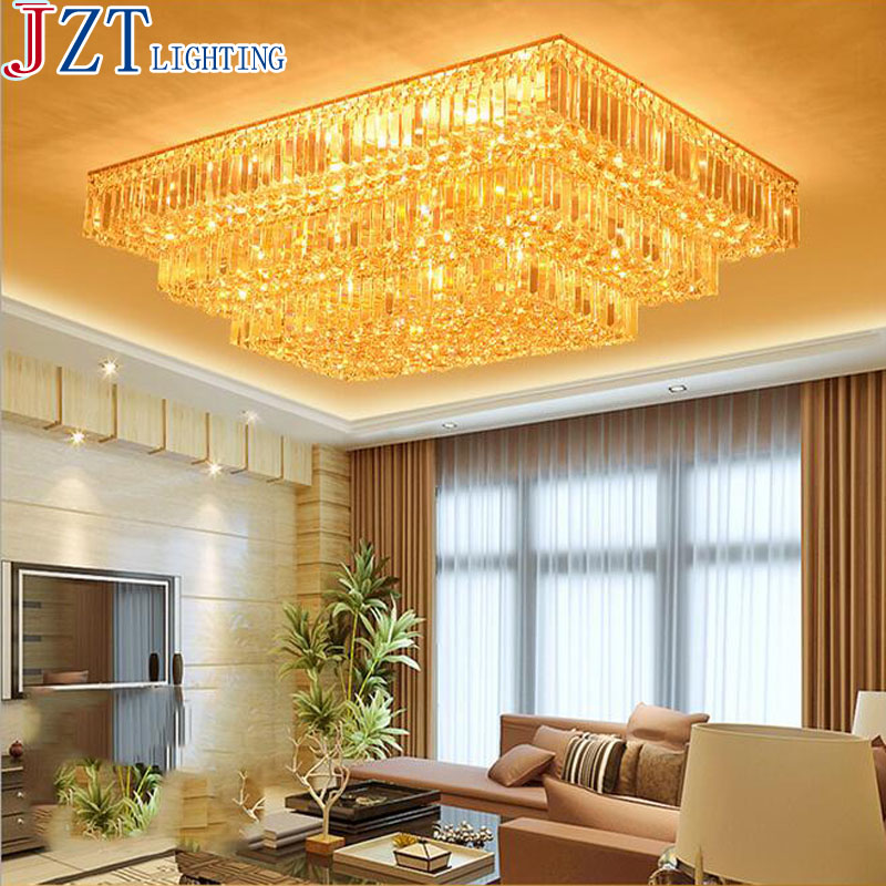 M Luxury 2/3 Layers Golden K9 Crystal Light LED 5W Remote Control Rectangular Ceiling Lamp For Living Room Hall Hotel Decoration