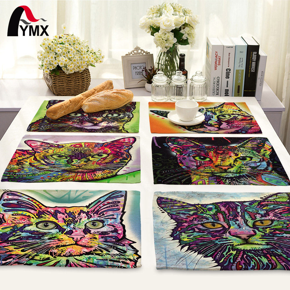 42*32cm Creative 3D Animal Cat Printed Table Napkin For Wedding Set Bowl Dining Mats Kids Table Set Home Decoration Accessories