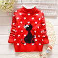 (4 pieces/lot) Wholesale New 2016 Children's Clothing Cat Pattern Girl's Sweater Baby Girl Fall Top 091929