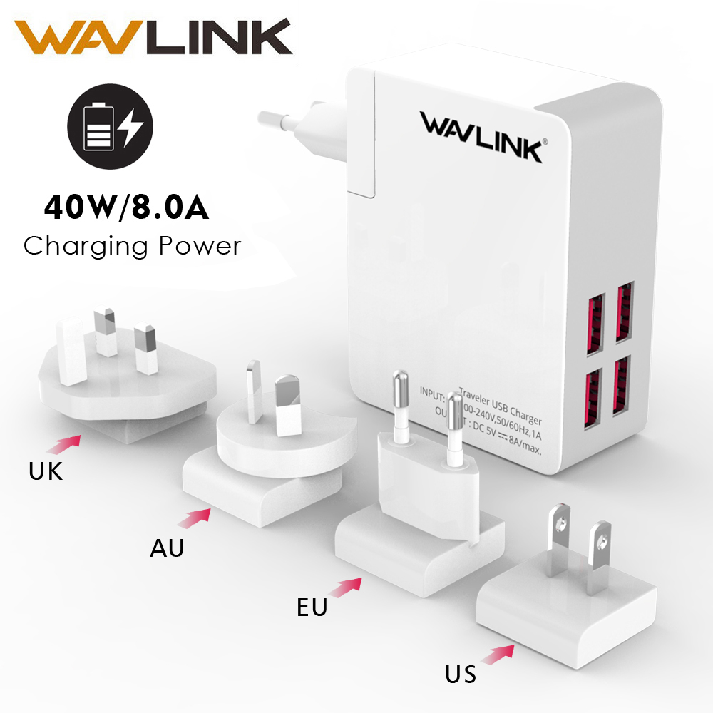 Wavlink Universal 4 Port Traveler USB charger Adapter 40w DC 5V 8A with portable Replaceable EU/US/AU/UK Plug For Mobile PhoneWavlink Universal 4 Port Traveler USB charger Adapter 40w DC 5V 8A with portable Replaceable EU/US/AU/UK Plug For Mobile Phone
