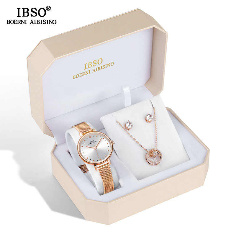 IBSO Brand Women Rose Gold Watch Earring Necklace Set Female Jewelry Set Fashion Creative Crystal Quartz Watch Lady's Gift
