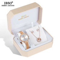 IBSO Brand Women Rose Gold Watch Earring Necklace Set Female Jewelry Set Fashioan Creative Crystal Quartz Watch Lady's Gift