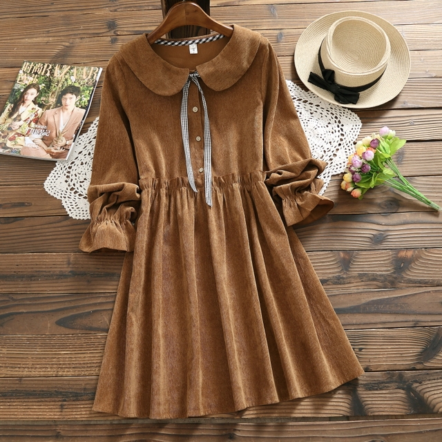 Autumn Winter Corduroy Dress 2018 New Women Long Sleeve Peter Pan Collar Loose Vintage Dresses Mori Girl Vestidos Khaki,Pink