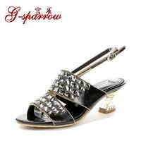 2018 Yaz Yeni Bayanlar Yüksek Topuklar Tıknaz Topuk Ayakkabı Boyutu 11 Online Rhinestone Elmas Womens Konfor Sandalet Indirim