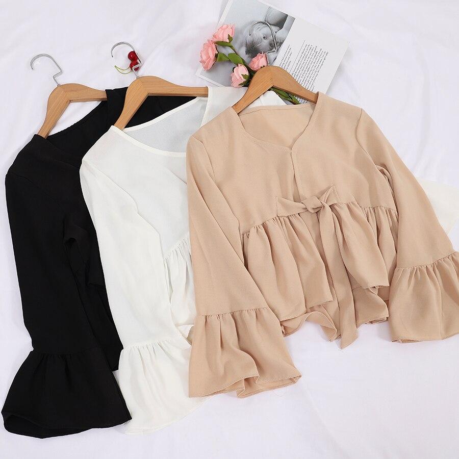 2020 Women Summer V-Neck Flare Sleeve Bandage Strap Basic Bow Shirt Elegant Lady Short Slim Pleated Chiffon Pullover Blouse Tops